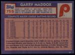 1984 Topps #755  Garry Maddox  Back Thumbnail