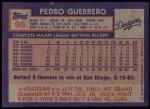 1984 Topps #90  Pedro Guerrero  Back Thumbnail
