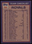 1984 Topps #96   -  Hal McRae / Larry Gura Royals Leaders & Checklist Back Thumbnail
