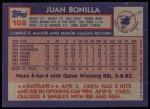 1984 Topps #168  Juan Bonilla  Back Thumbnail