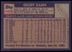 1984 Topps #468  Geoff Zahn  Back Thumbnail