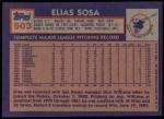 1984 Topps #503  Elias Sosa  Back Thumbnail