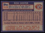 1984 Topps #526  Ron Oester  Back Thumbnail