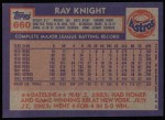 1984 Topps #660  Ray Knight  Back Thumbnail