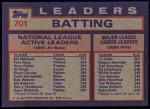 1984 Topps #701   -  Pete Rose / Dave Parker / Bill Madlock NL Active Batting Leaders Back Thumbnail