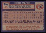 1984 Topps #34  Eddie Milner  Back Thumbnail