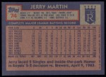 1984 Topps #74  Jerry Martin  Back Thumbnail