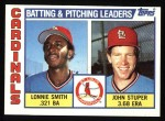 1984 Topps #186   -  John Stuper / Lonnie Smith Cardinals Leaders & Checklist Front Thumbnail