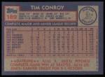 1984 Topps #189  Tim Conroy  Back Thumbnail