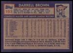 1984 Topps #193  Darrell Brown  Back Thumbnail