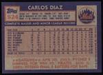 1984 Topps #524  Carlos Diaz  Back Thumbnail