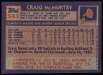 1984 Topps #543  Craig McMurtry  Back Thumbnail