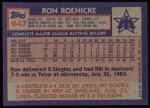 1984 Topps #647  Ron Roenicke  Back Thumbnail