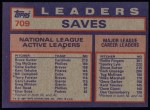 1984 Topps #709   -  Gene Garber / Bruce Sutter / Tug McGraw NL Active Save Leaders Back Thumbnail