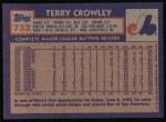 1984 Topps #732  Terry Crowley  Back Thumbnail
