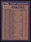 1984 Topps #156   -  Rickey Henderson / Tim Conroy A's Leaders & Checklist Back Thumbnail