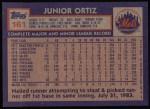 1984 Topps #161  Junior Ortez  Back Thumbnail