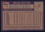 1984 Topps #175  Graig Nettles  Back Thumbnail