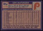 1984 Topps #275  Len Matuszek  Back Thumbnail