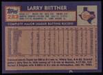 1984 Topps #283  Larry Bittner  Back Thumbnail