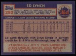 1984 Topps #293  Ed Lynch  Back Thumbnail