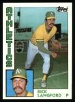1984 Topps #629  Rick Langford  Front Thumbnail