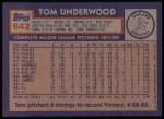 1984 Topps #642  Tom Underwood  Back Thumbnail