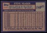 1984 Topps #661  Steve Yeager  Back Thumbnail