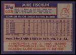 1984 Topps #689  Mike Fischlin  Back Thumbnail