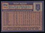 1984 Topps #743  Don Hood  Back Thumbnail