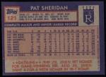 1984 Topps #121  Pat Sheridan  Back Thumbnail