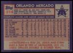 1984 Topps #314  Orlando Mercado  Back Thumbnail