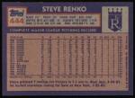 1984 Topps #444  Steve Renko  Back Thumbnail