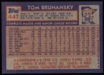 1984 Topps #447  Tom Brunansky  Back Thumbnail