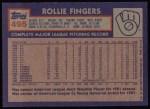 1984 Topps #495  Rollie Fingers  Back Thumbnail