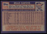 1984 Topps #509  Brad Havens  Back Thumbnail