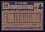 1984 Topps #552  Ray Burris  Back Thumbnail