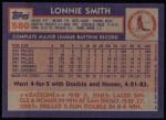 1984 Topps #580  Lonnie Smith  Back Thumbnail