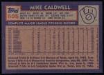 1984 Topps #605  Mike Caldwell  Back Thumbnail