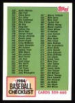 1984 Topps #646   Checklist Front Thumbnail