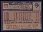 1984 Topps #668  Larry McWilliams  Back Thumbnail