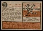 1962 Topps #366  Phil Regan  Back Thumbnail