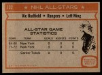 1972 Topps #132  Vic Hadfield  Back Thumbnail