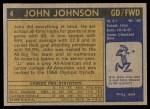 1971 Topps #4  John Johnson   Back Thumbnail