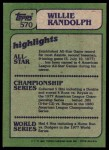 1982 Topps #570   -  Willie Randolph In Action Back Thumbnail