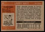 1972 Topps #44  Larry Hale  Back Thumbnail