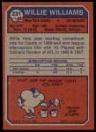 1973 Topps #231  Willie Williams  Back Thumbnail