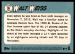 2014 Topps Heritage #99  Walt Weiss  Back Thumbnail