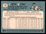 2014 Topps Heritage #170 POR Justin Upton  Back Thumbnail