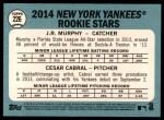 2014 Topps Heritage #226   -  Cesar Cabral / J.R. Murphy Yankees Rookies Back Thumbnail